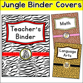 Jungle Animals Theme Classroom  - Editable Binder Covers -