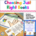 Just Right Books & 5 Finger Rule poster and bookmarks
