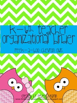 K-6th Teacher Organizational Binder- Peek-a-boo Chevron Owls