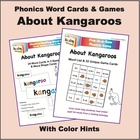 Kangaroo Phonics Word Cards and Games, with Color Hints on Vowels
