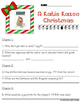 Katie Kazoo Christmas Comprehension Pack