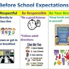 Before School Expectations poster