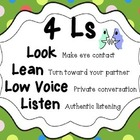 Artsy Teacher Cafe -  4 Ls: Look, Lean, Low Voice, Listen POSTER
