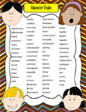Artsy Teacher Cafe - CHARACTER TRAITS 2-Page Descriptive Words!