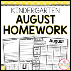 Kindergarten AUGUST Homework Packet: Editable