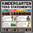 Kindergarten TEKS Bundle - I Can... Standards Statements