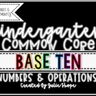 Kindergarten CCSS Numbers & Operations in Base 10 {Printab