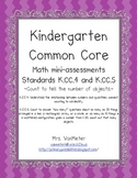 Kindergarten Common Core Math Assessments- K.CC.4 and K.CC.5