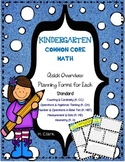 Kindergarten Common Core Math Quick Overview Planning Forms