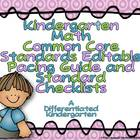 Kindergarten Common Core Pacing Guide Checklist-Math (Editable)