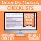 Kindergarten Common Core Standards Editable Checklist (Math/ ELA)