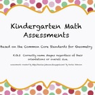 Kindergarten Common Core Standards Math Shape Assessment