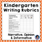 Kindergarten Common Core Writing Rubrics
