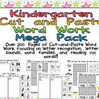 Kindergarten Cut and Paste Word Work- Mega Pack Bundle- le