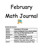 Kindergarten Math Journal - February COMMON CORE