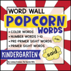 Kindergarten Popcorn Word-Wall Words {Editable!}