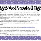 Kindergarten Scott Foresman Sight Word Snowball Fight Words
