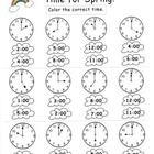Kindergarten Spring Telling Time Set
