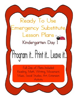Kindergarten Editable Substitute, Emergency Lesson Plans,
