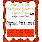 Kindergarten Substitute, Emergency Lesson Plans, Ready to