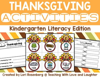 Kindergarten Thanksgiving Literacy Activities