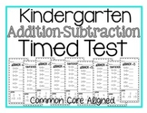 Kindergarten Timed Add/Subtraction Test