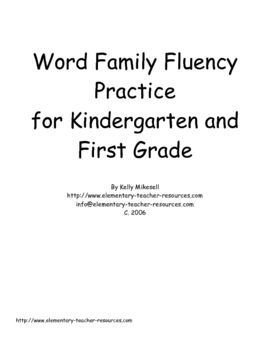 Kindergarten Word Family Practice
