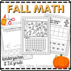 Kindergarten and 1st Grade Fall Pumpkin Halloween Math Cen