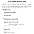 King Arthur: Legend Info Sheet & Background Assignment & KEY