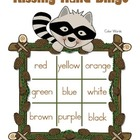 Kissing Hand Color Word Bingo