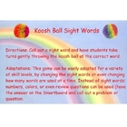 Koosh Ball Sight Words!