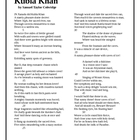 Kubla Khan - Coleridge - Study guide questions and text