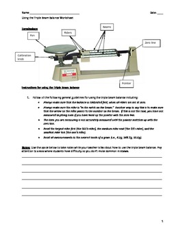 Reading A Triple Beam Balance Worksheet PdfReading A Triple Beam ...