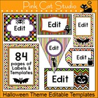 Halloween Theme Labels - 84 Editable Labels for Name Tags,
