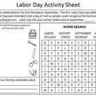Labor Day Activity Sheet