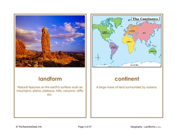 Landforms Picture Activity Cards