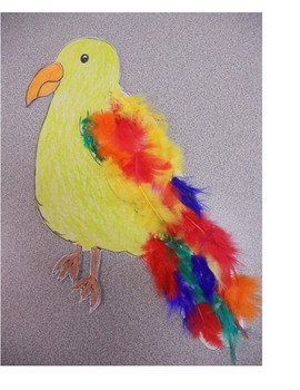 Large Colorful Parrot for bulletin board or craft