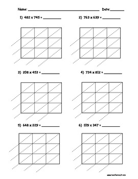 Lattice Multiplication Worksheet - Delibertad