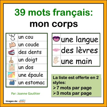 Le corps - French Vocabulary Word Wall of Body Parts