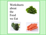 Kids Cooking-Learning Worksheets about the Food we Eat