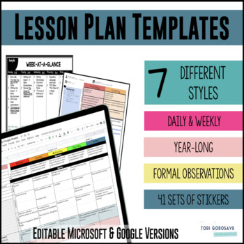 Lesson Plan Templates - Multiple Editable & PDF Versions