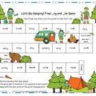Let's Go Camping! Final _ng and _nk Literacy Station Word