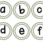 Letters and Numbers Green Polka Dot Labels