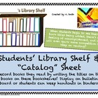 Library Bookshelf Record Sheets for Students Free Printables