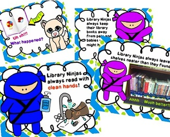 Library Ninjas Book Care PowerPoint with Bookmarks