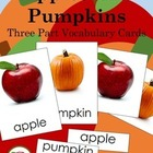 Life Cycles Apples & Pumpkins Vocabulary cards (three part