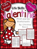 Life Skills Valentine Print & Go Worksheets: Money and Gro