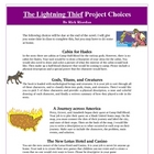 Lightning Thief Reading Creative Project Activities and Rubric