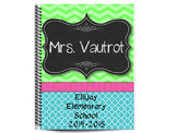 Lime Green & Turquoise Editable Calendar and Planner