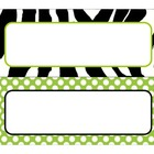 Lime Zebra Desk Plates and Tags